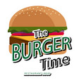 the burger time white background image vector image vector image