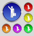tourist icon sign Round symbol on bright colourful vector image vector image