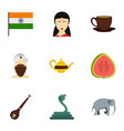 travel to india icon set flat style vector image vector image
