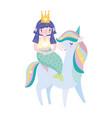 unicorn carrying mermaid rainbow hair fantasy vector image vector image