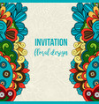 universal invitation floral doodle ornament card vector image
