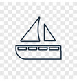 yatch concept linear icon isolated on transparent vector image vector image