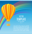 yellow and orange air ballon with basket vector image