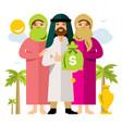 polygamy saudi man and his harem flat vector image