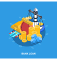 bank loan isometric round composition