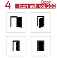 black door icons set vector image vector image