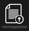 black upload file icon isolated on black vector image vector image