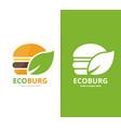 burger and leaf logo combination hamburger vector image vector image