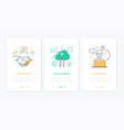 business and technology - set line design style vector image