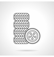 Car wheels flat line icon vector image vector image