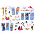 cartoon funny hello summer collection vector image
