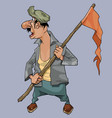 cartoon man with flag on stick looks back vector image vector image