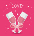 cups champagne with ribbon isolated icon vector image vector image