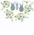 cute floral abstract card with pineapples vector image