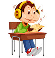 cute monkey student character vector image vector image