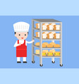 cute pastry chef with bread rack flat design vector image