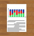 document with 3d chart vector image vector image