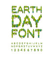 earth day font forest alphabet letters from tree vector image