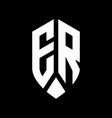 er logo monogram with emblem shield style design vector image vector image