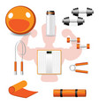 fitness different tools on white backgound vector image