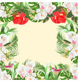 floral frame bouquet with tropical flowers white vector image