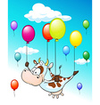 funny design with flying cow with balloons on blue vector image vector image