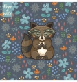 Funny little raccoon meditates on the meadow vector image vector image