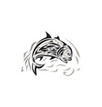 Giant Trevally Jumping Down Tribal Art vector image vector image