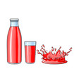 glass cup bottle splash drop of juice vector image vector image