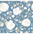 gray pattern with big white roses vector image vector image