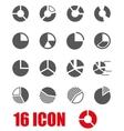 grey pie chart icon set vector image