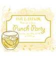 hand drawn punch party invitation card vintage vector image vector image