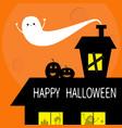 happy halloween flying bat haunted house roof vector image vector image