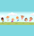 happy jumping kids funny children playing and vector image vector image