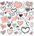 heart sketches doodle shape symbols set vector image