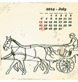 July 2014 hand drawn horse calendar vector image vector image