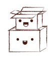 kawaii cardboard boxes stacked in monochrome vector image vector image