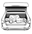 kidnapped man in car trunk coloring book vector image vector image