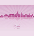 kielce skyline in purple radiant orchid vector image vector image