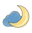 moon and cloud cartoon vector image vector image