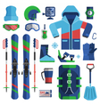 Mountain Skiing Equipment Set vector image