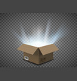 open empty cardboard box with a glow inside vector image vector image