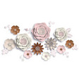 paper art summer flowers on a white background vector image vector image