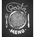 Pasta menu drawn on chalkboard vector image vector image