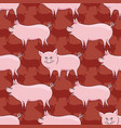 pattern with cute pigs on a red background vector image vector image