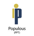 populous cryptocurrency symbol vector image vector image