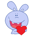Purple Rabbit Laughing And Holding a Red Heart Lov vector image