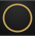 realistic gold chain on black background vector image