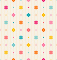 Retro seamless pattern Color flowers and dots vector image vector image