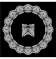 Round Frame - floral lace ornament - white on blac vector image vector image